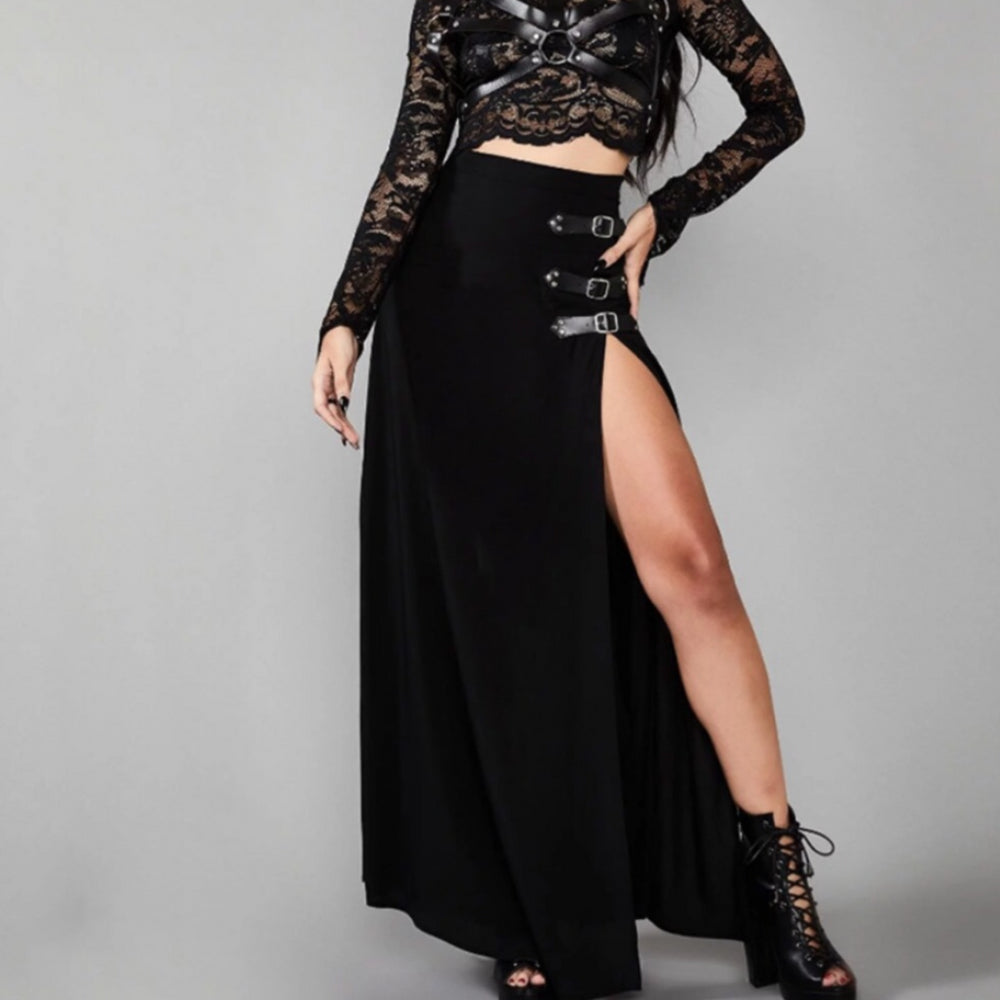 Black Maxi Skirt Split Side Belt Detailing