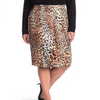 Women's Multi Colored Leopard Print Skirt Plus Size 1X Figure Flattering Fabric