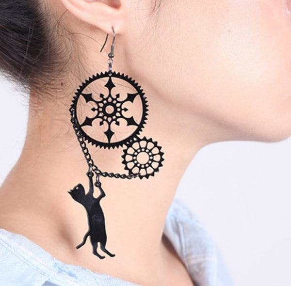 Women's Steampunk Long Hanging Earrings Gears Acrylic - Wild Time Fashion
