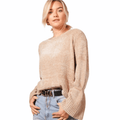 Sweater Soft Bell Sleeve Round Neckline - FREE SHIPPING USA - Wild Time Fashion
