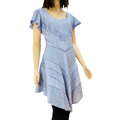 Women's Top Short Fluttery Sleeve Embroidered Dusty Blue Top