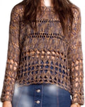 Women's Crocheted Long Sleeve Top FREE SHIPPING USA - Wild Time Fashion