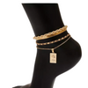 Gold Set of Anklets Mixed Metal Design Chains Coin Pendant  4 anklets snake mariner round link Cable chains