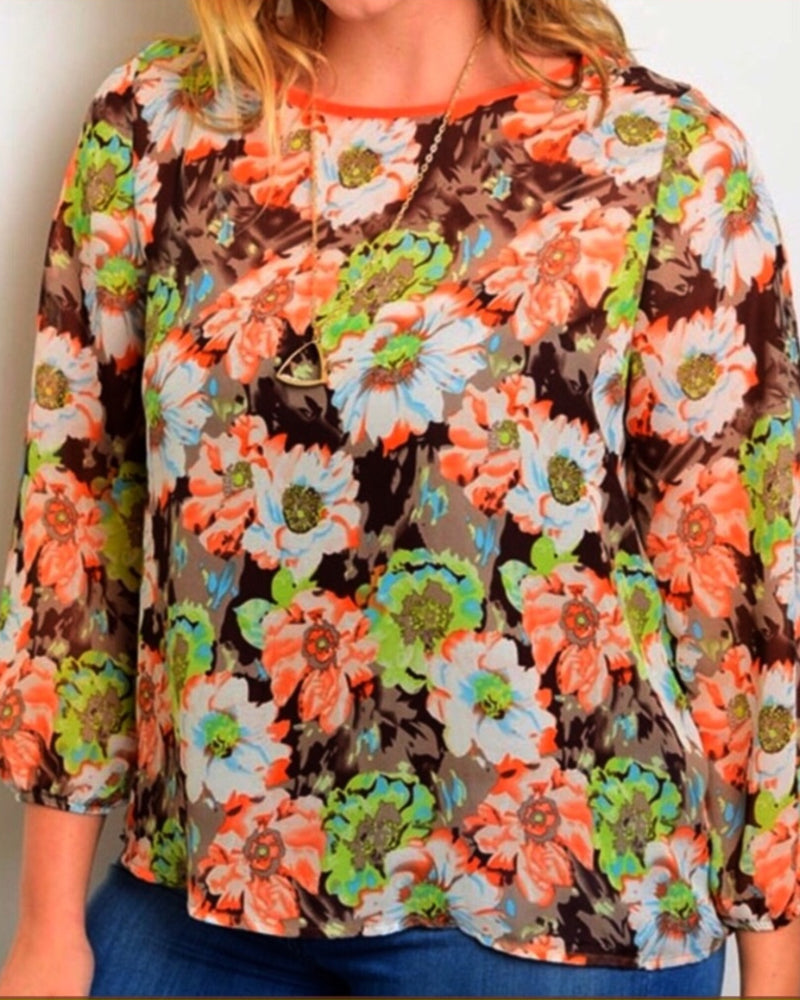 Blouse in Multi Floral Color Print Semi Sheer Plus Size 1XL 2XL QUICK SHIP USA