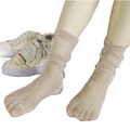Slouchy Shimmery Ribbed Glittery Gold Socks Tulle Lace OS - Wild Time Fashion