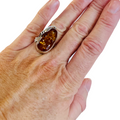 Women's Gorgeous Amber Sterling Silver Ring Size 7