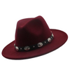Rich Burgundy Wide Brim Fedora Hat Black Leather Silver Conches Band Size 7.5