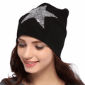 Women's White or Black Sequined Star Beanie Cap Skullies Skull Caps