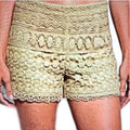 Tan Crocheted Lined Shorts Metro Fashion