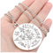 Silver Link Chain Round Esoteric Pentagram Cross Necklace Genderless Jewelry