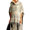 Women's Shawl Poncho Cover Up Knitted  Layering Long Fringed Hemline