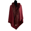 Women's Rich Burgundy Red Cape Shawl Soft Fur Detailed One Size