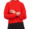 Women's Red Soft Ribbed Knitted Sweater XL Wild Time Fashion USA Herriman Utah
