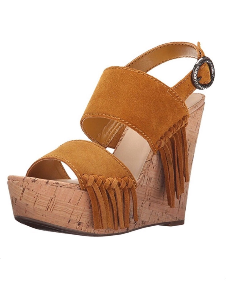 Suede Leather Platform Open Toe Wedge Sandals 9.5 - QUICK SHIP USA