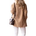 Women's Camel Color Sherpa Teddy Coat Button Closure