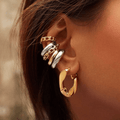 Gold Braided Design Metal Ear Cuffs Earrings - FREE SHIPPING USA - Wild Time Fashion