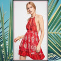 Halter Dress by Free People Medium Red Dresses - FREE SHIPPING USA - Wild Time Fashion