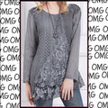 NEW Gray Tunic Top Layering Textured Size Medium