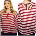 Burgundy Striped Lightweight Knit Sweater Plus Size Pull over year around Top Plus sizes 1XL 3 XL