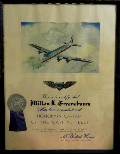 Pennsylvania Central Airlines (PCA) Presentation Certificate - 1946