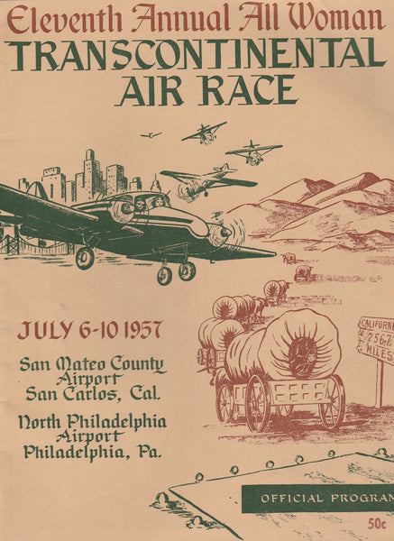 1957 Powder Puff Derby Program - 11th Annual All Woman Transcontinental Air Race, San Carlos, California to Philadelphia