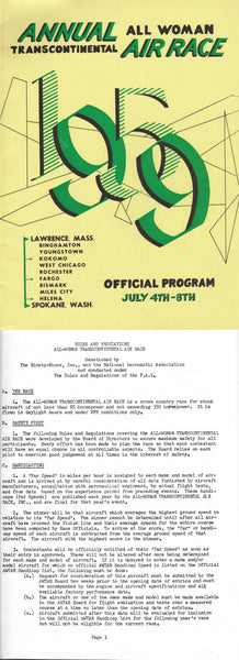 1959 Powder Puff Derby Program and Rules and Regultions for Contestants - Lawrence, Mass. to Spokane