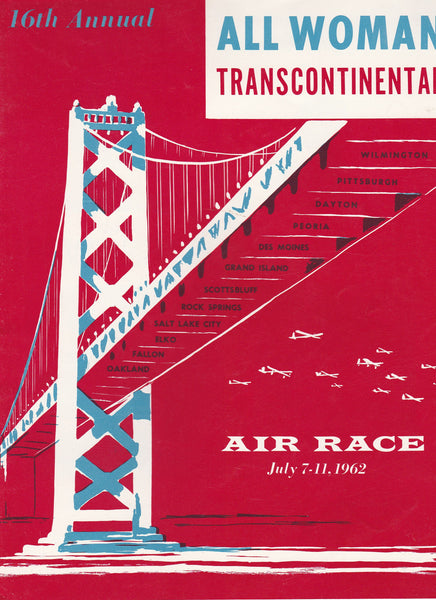 1962 Powder Puff Derby Program - 16th Annual All Woman Transcontinental Air Race Oakland to Wilmington