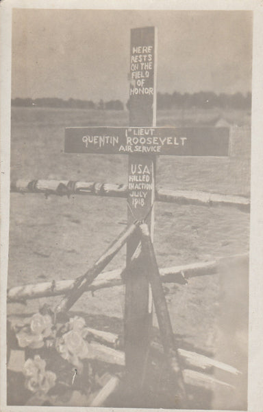 Photo Postcard - Quentin Roosevelt Grave WWI