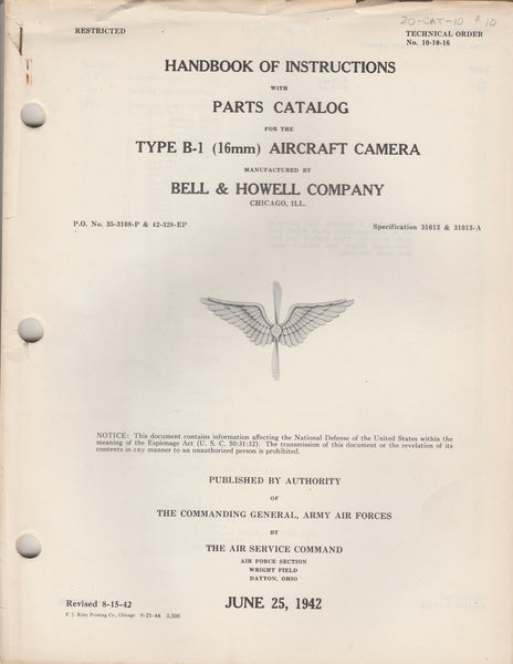 WWII Aircraft Camera Handbook - 16mm Type B-1
