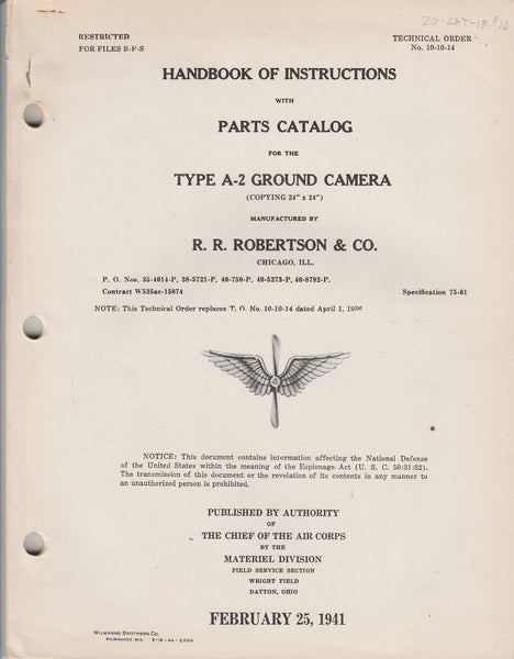WWII Aircraft Camera Handbook - A-2 Ground Camera