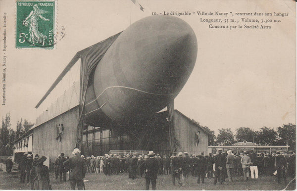 French Postcard, Ville de Nancy Airship by Astra - circa 1910