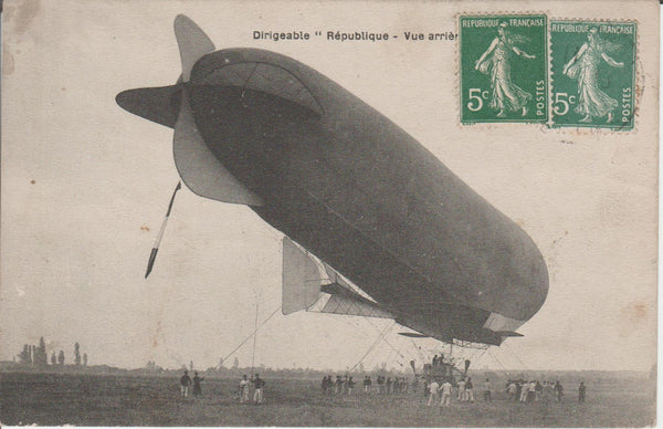 "French Postcard, Dirigible ""Republique"" - 1912"