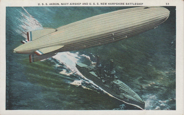 Artist's Concept of USS Akron Over USS New Hampshire Battleship