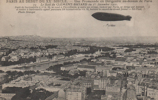 "French Dirigible ""Clement-Bayard"" Setting Record Over Paris - 1908"