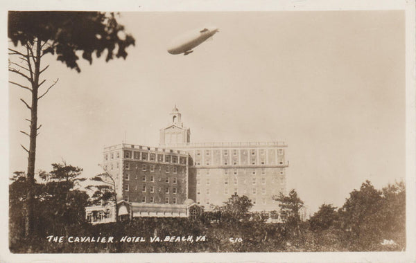 Early USN Airship Over Virginia Beach - circa 1917