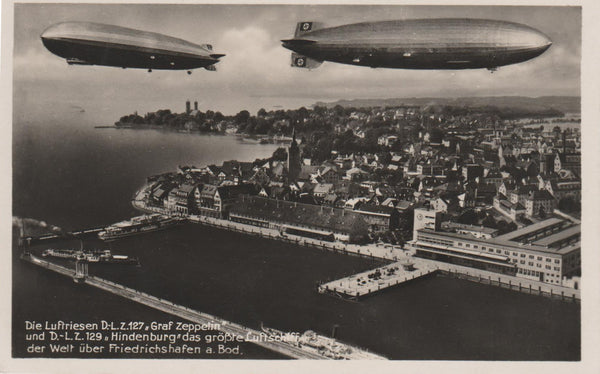 """Fantasy"" Postcard, LZ 127 and LZ 129 Together Over Friedrichschafen - circa 1935"