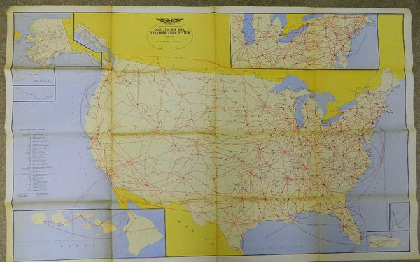 U.S. Domestic Air Mail Map - 1962