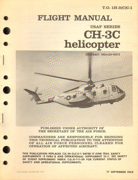 Flight Manual, USAF CH-3C Helicopter - 1965