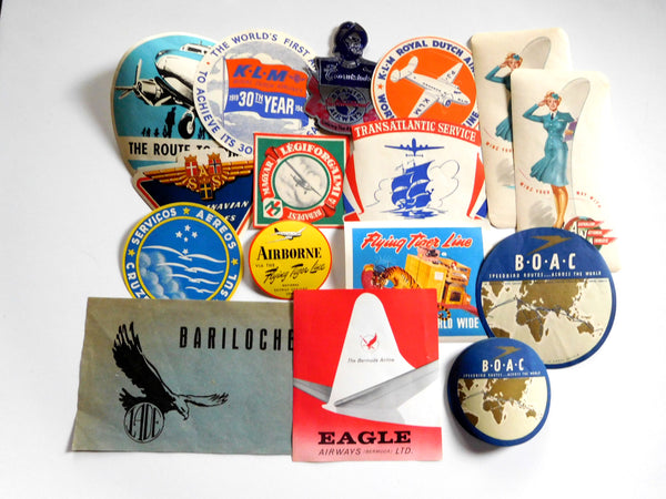 Seventeen (17) Overseas Airlines Baggage Labels - circa 1940's-1960's