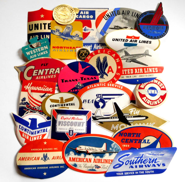 Thirty-six (36) U.S. Airline Baggage Labels - 1940's to 1960's