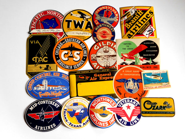Thirty-Seven (37) Rare Early Airline Baggage Labels - circa 1930's to 1940's