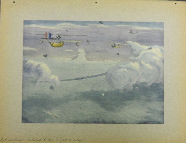 Original Farre Folio Print - French Hydroaeroplanes Bombing Zeebrugge