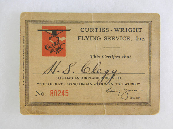Curtiss-Wright Flight Ticket Certificate - circa 1930s