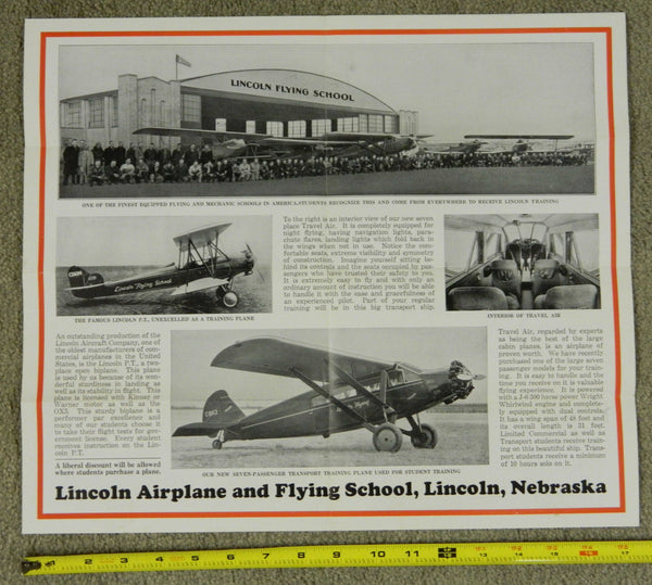 Lincoln Airplane and Flying School Materials, Lincoln, Nebraska - 1929