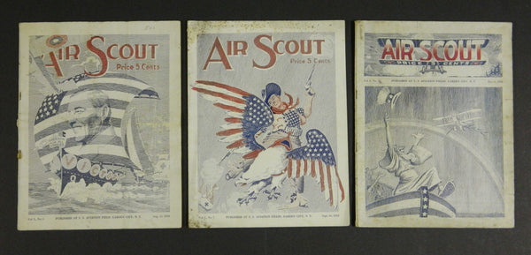 """Air Scout"" Magazine of the U.S. Aviation Field, Garden City, N.J. - 3 issues 1918"