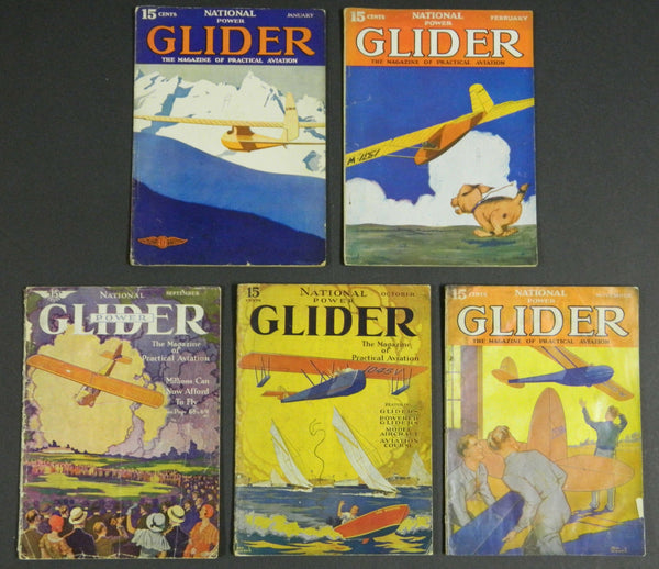 National Power Glider Magazine, 5 issues - 1930-31
