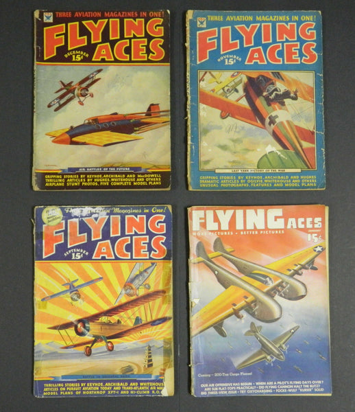Flying Aces, 4 Issues - 1930's & 1940's