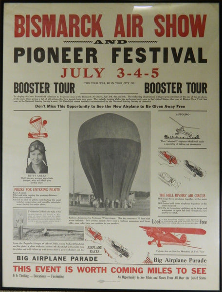 Colorful Bismarck North Dakota Air Show Lot - 1936