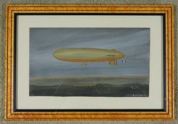 Early Oil Painting of British Airship - 1913/14