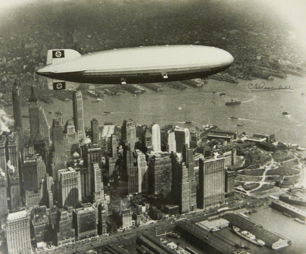 Large U.P.I. Photograph of the Hindenburg Zeppelin Signed by C.E. Rosendahl